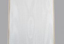 Kranzband-Moiré weiß - schmaler Goldrand