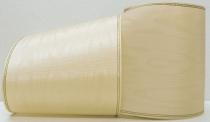 Kranzband-Moiré ecru - Goldrand mit schwarzem Faden