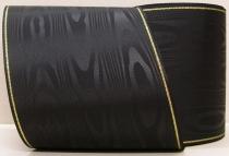 Kranzband-Moiré schwarz - Goldrand mit schwarzem Faden