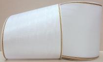 Kranzband-Moiré weiß - Goldrand mit schwarzem Faden