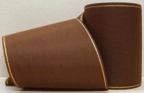 Kranzband-Moiré dunkelbraun - Goldrand mit schwarzem Faden